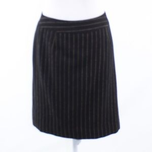 Milly black gold pinstripe pencil skirt 8